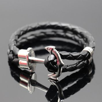 Leather Handmade Cuff Wristband Anchor