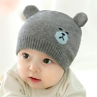 DreamShining Cute Bear Baby Hat Beanies Toddler Cap Knitted Warm Kids Winter Hats Newborn Photography Pprops Accessories