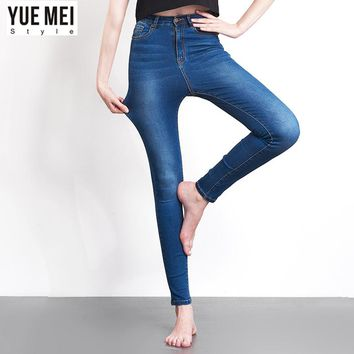 YueMei style 2017 Jeans For Women Skinny High Waist  Blue Denim Pencil Stretch  Trousers for woman
