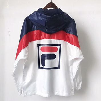 FILA Fashion Women Men Casual Color Matching Hooded Zipper Cardigan Sweatshirt Jacket Coat Windbreaker Sportswear I-AA-XDD
