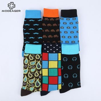Modeager Colored Big size Mustache Bicycle Checkered Knee Men Socks Cotton Casual Long Happy Socks Dress Socks for Wedding