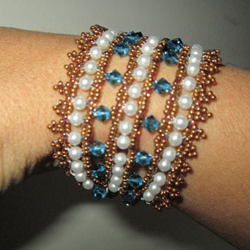 woven beaded bracelet with swarovski crystals and pearls