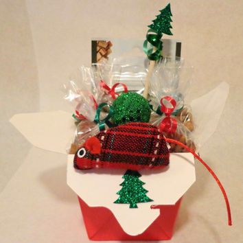 Christmas cat or ferret treat basket with toys, custom, gift, holiday, persnalize