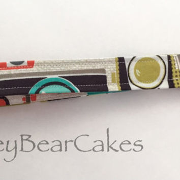 Camera Key Fob - Fabric Key Chain - Colorful Lanyard - Gift Under 10 - Stocking Stuffer - Green and Blue