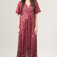 Grand Entrance Burgundy Lace Dress