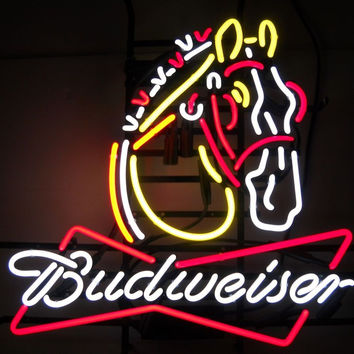 Budweiser Clydesdale Horse Neon Sign Real Neon Light