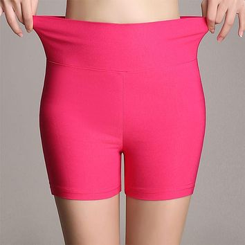 Summer new arrival fashion candy color stretch ladies high waist shorts 18 colors skinny thin plus size women shorts 2016