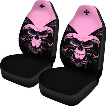 Skull Pattern Print Universal Fit Car Seat Covers - Pink Horned Skull
