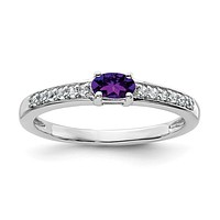 Sterling Silver Horizontal Oval Amethyst And White Topaz Ring