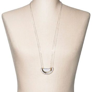 "Women's Three-Row Long Necklace w/ Half Circles - Silver/Gold (30"")"