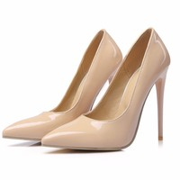 patent leather high heels women pumps sexy pointed toe thin heels 12CM