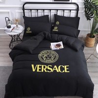 Black VERSACE Comfortable Soft 4 Bedding Set Conditioning Throw Blanket Quilt For Bedroom Living Rooms Sofa