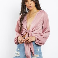 Daria Silky Tie Front Blouse