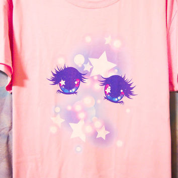 Kawaii Fairy Kei Pastel Shoujo Manga Anime Eyes Womens T Shirt Size S Through 2XL