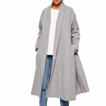 Gray Drape Collar Winter Women Coat