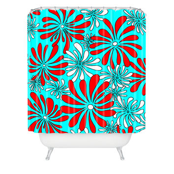 Madart Inc. Swirly Flower Aqua Red Shower Curtain