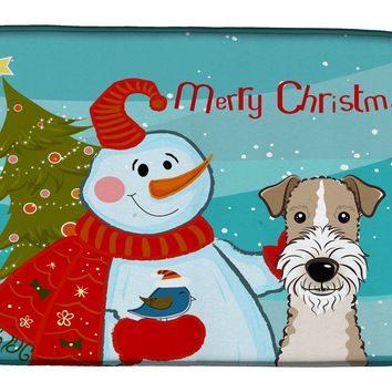 Snowman with Wire Haired Fox Terrier Dish Drying Mat BB1867DDM
