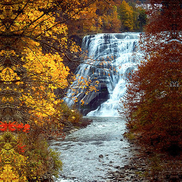 Photograph of Waterfall Photo, Ithaca Falls, Ithaca NY, Autumn Photography, Picture,Cornell University,photo of waterfall in fall, CU gift
