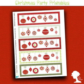 Party Printable: Christmas Holiday Season Baubles Drink Bottle/Cup Labels in Red and Green