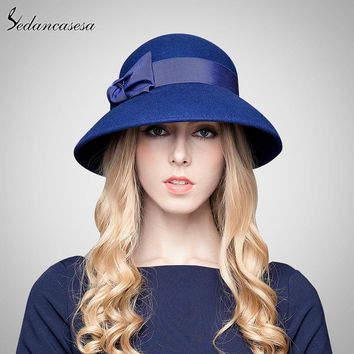 Sedancasesa 100% Australian Wool Fedora Hat bowknot Noble Bowler Hats For Women Wide Brim Formal Church Cloche Hat FW149001