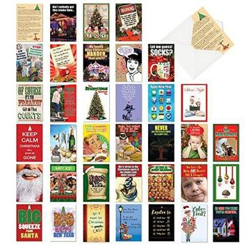 Funny Christmas Boxed Assortment: Bulk Pack of 36 Hilarious Mixed Holiday Occasions Including New Year's Greeting Cards w/Envelopes (36 Designs, 1 Card Per Design)