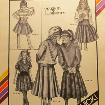 SALE Uncut 1980's Stretch & Sew Sewing Pattern, 911! Girls Yoked Skirts/Pleated/Gathered Skirts/Mid Calf/Knee Length/Pull on Style/Full Skit