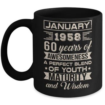 DCKIJ3 Classic Vintage Limited January 1958 60th Birthday Mug