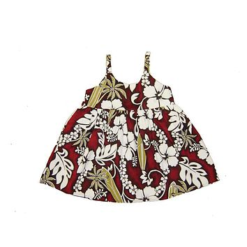 KY's Red with White Hibiscus and Gold Palm Trees Girls Aloha Dress