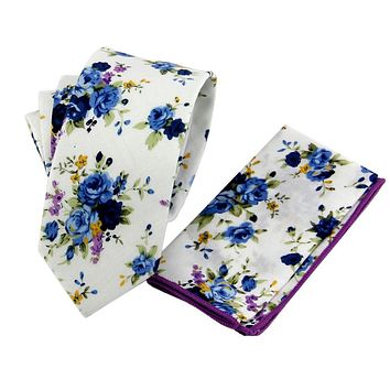 Men's Suit Floral Ties Necktie Handkerchiefs Sets Vintage Mens Floral Slim Ties Cravats Pocket Square Sets