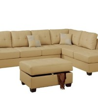 Bobkona Rui 3-Piece Bonded Leather Reversible Sectional Sofa with Matching Ottoman, Khaki