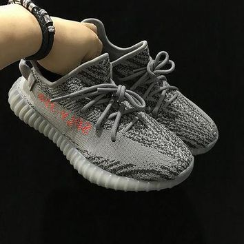 DCCK Adidas Yeezy Boost 350 V2 SPLY AH2203 Grey Women Men Fashion Trending Running Sneakers