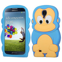 Samsung Galaxy S4 S IV Rubber SILICONE Skin Soft Case Phone Cover Blue Monkey