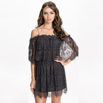 Dark Grey Lace Off The Shoulder Dress
