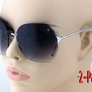 2-PAIR Rimless Oversized Gradient Lens Round Butterfly Women Sunglasses