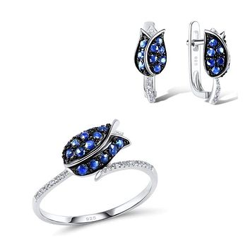 Unique Bridal Blue Nano Cubic Zirconia Ring Earrings 925 Sterling Silver Fashion Jewelry Set