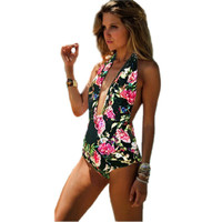 Summer Women Swimsuit Sexy Halter Floral Swimsuit Swimwear Bathing Monokini Swimming Suit LKT1 Drop Shipping