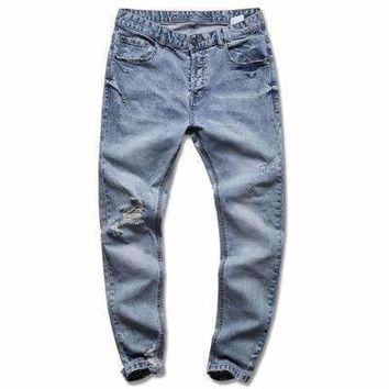Mensdenim Blue Holes Jeans Slim Cotton Mens Casual Long Pants Jeans