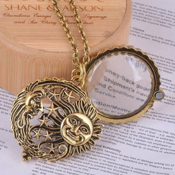 ICIKHY9 magnifier glass pendant sun with moon and stars necklace antique gold jewelry opens and closes