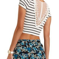 Combo Lace-Back Striped Crop Top by Charlotte Russe