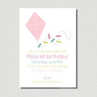 Pink Kite - DIY Printable Invitation - Baby or Toddler Birthday, Baby Shower Invite