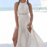 Pretty Persuasion Beige Maxi Dress