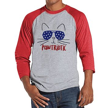 Men's 4th of July Shirt - Funny Pawtriotic Cat Shirt - Red Raglan Tee - Independence Day 4th of July Party Shirt - Funny Patriotic Shirt