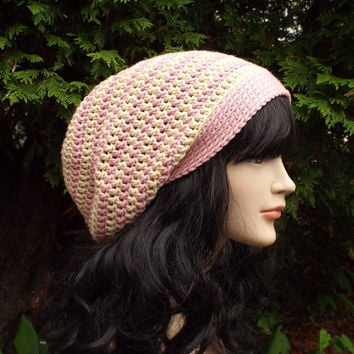 Pink and Beige Stripe Slouch Beanie - Womens Slouchy Crochet Hat - Ladies Oversized Cap - Hipster Hat - Baggy Beanie