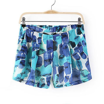 Summer Women's Fashion Casual Pants Abstract Print Chiffon Shorts [4918041284]