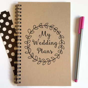 Writing journal, spiral notebook, cute diary, small sketchbook, scrapbook, memory book, 5x8 journal - My wedding plans, bridal gift, planner