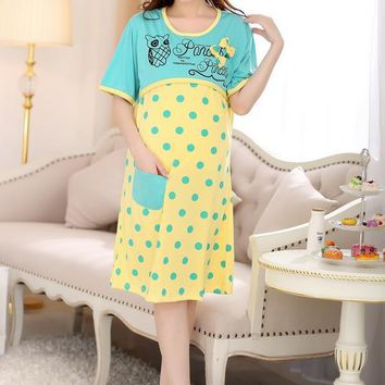 Women's  Maternity Cat Pattern Faux Two Piece Nursing Dress L-XXL 2 Styles
