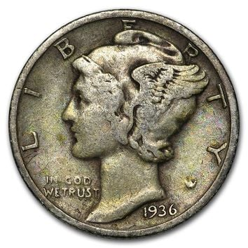 1936 Mercury Dime Good/VF