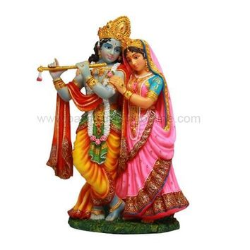 Krishna and Radha Hindu lovers Couple Statue