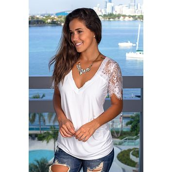 Ivory V-Neck Top with Lace Sleeves