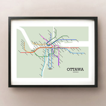 Ottawa Metro Fictional Subway Style Map Art Print